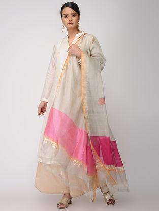 Ivory-Pink Chanderi Dupatta with Zari