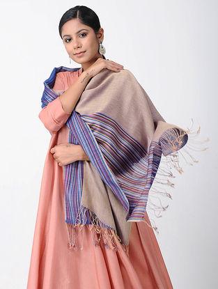 Beige-Blue Merino Wool-Silk Shawl