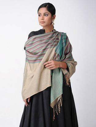 Beige-Green Merino Wool-Silk Shawl