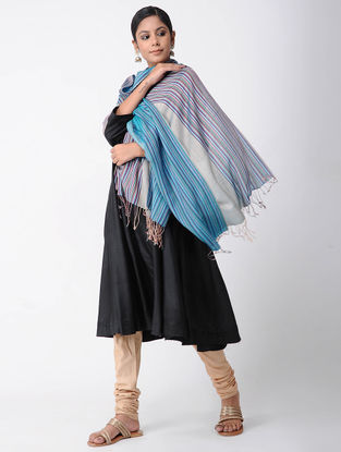 Grey-Blue Merino Wool-Silk Shawl
