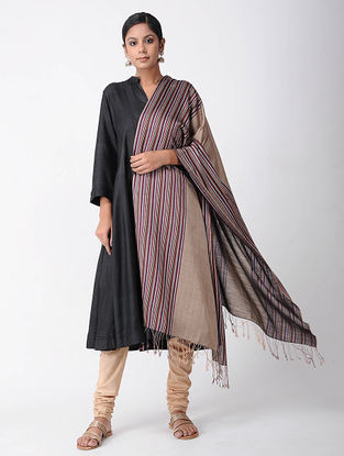 Beige-Purple Merino Wool-Silk Shawl
