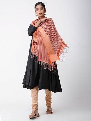 Peach-Orange Merino Wool-Silk Shawl
