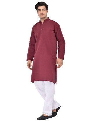 Maroon Full Sleeve Cotton Khadi Kurta