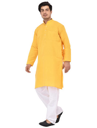 Yellow Full Sleeve Cotton Khadi Kurta
