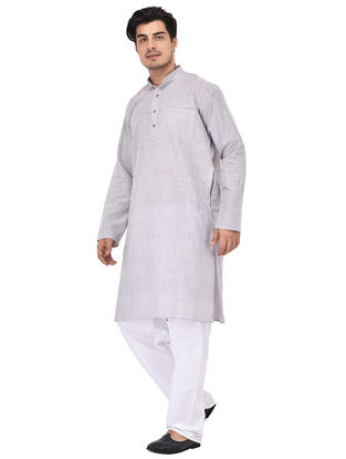 Grey Full Sleeve Cotton Khadi Kurta