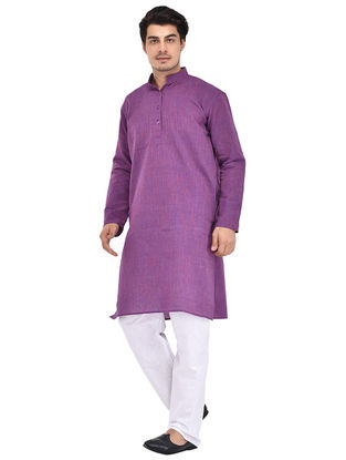 Purple Full Sleeve Cotton Khadi Kurta
