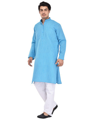 Blue Full Sleeve Cotton Khadi Kurta