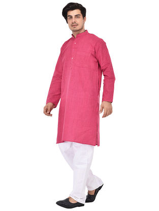 Pink Full Sleeve Cotton Khadi Kurta