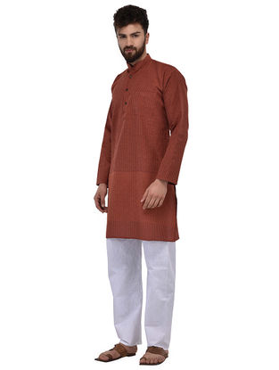 Rust Full Sleeve Cotton Khadi Kurta