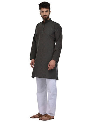 Green-Pink Full Sleeve Cotton Khadi Kurta