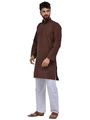 Black-Rust Full Sleeve Cotton Khadi Kurta