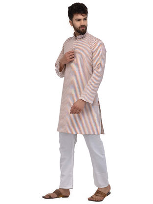 Beige-Brown Full Sleeve Cotton Khadi Kurta