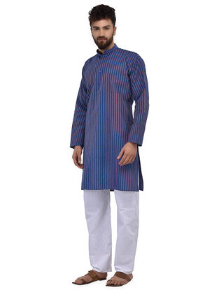 Blue-Purple Full Sleeve Cotton Khadi Kurta