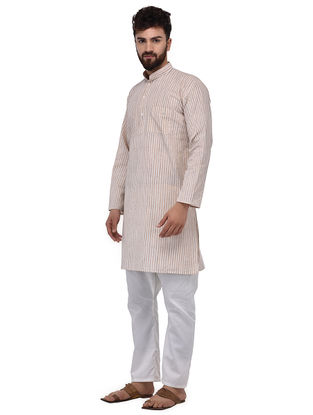 Beige-Grey Full Sleeve Cotton Khadi Kurta