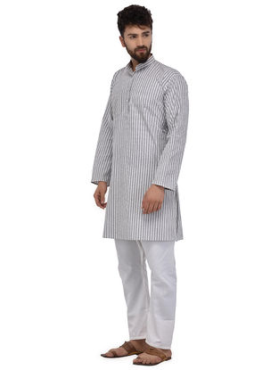 White-Grey Full Sleeve Cotton Khadi Kurta