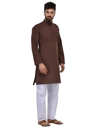 Black-Maroon Full Sleeve Cotton Khadi Kurta