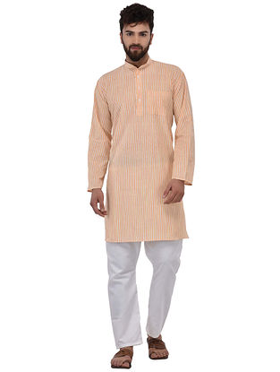 Orange Full Sleeve Cotton Khadi Kurta