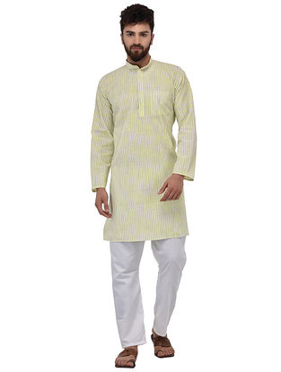 Green Full Sleeve Cotton Khadi Kurta