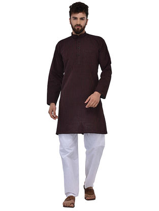 Black Full Sleeve Cotton Khadi Kurta