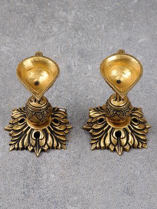 Brass Phool Diya Small (Set Of 2) 2.6in x 2.6in x 3.3in
