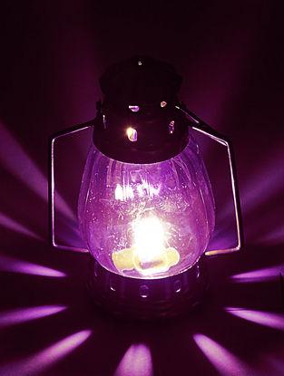 Purple Glass-Brass Lantern 4.6in x 3.2in x 8.2in