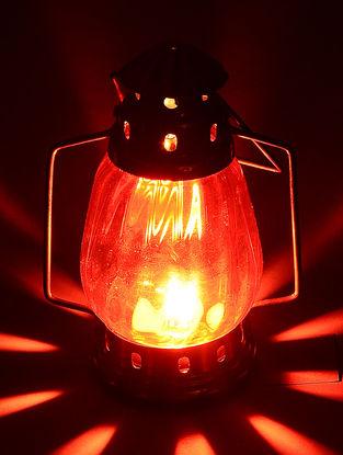 Red Glass-Brass Lantern 4.6in x 3.2in x 8.2in