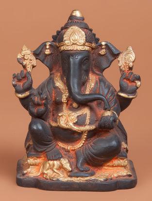 Brass Ganesha Statue 3.5in x 4.2in x 6.1in