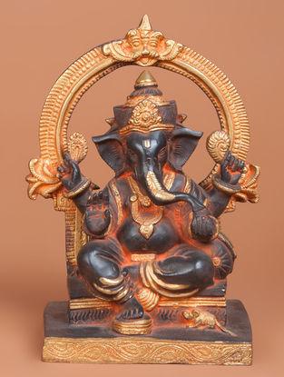Brass Ganesha on Throne Statue 3.7in x 6.1in x 8.5in