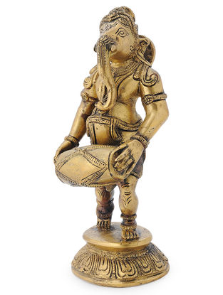 Brass Home Accent with Lord Ganesha as a Musician Design