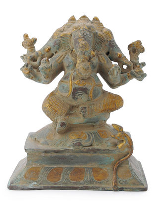 Brass Home Accent with Three-headed Lord Ganesha Design