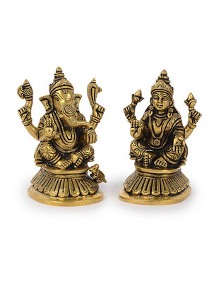Brass Home Accent with Lord Ganesha and Goddess Lakshmi Design (Set of 2) (L: 2.2in, W: 2.2in, H: 4in)