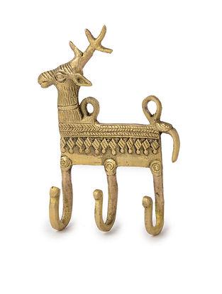 Brass Wall Hook with Deer Motif (L: 4in, W: 5.2in, H: 1in)