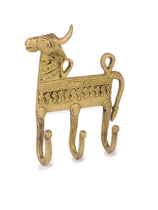 Brass Wall Hook with Animal Motif (L: 4.2in, W: 5in, H: 1in)