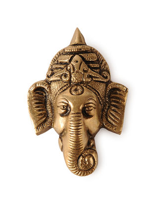 Brass Wall Accent with Lord Ganesha Face Design (3in x 1.6in)