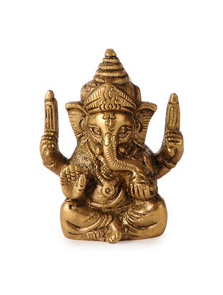 Brass Home Accent with Lord Ganesha Design (L:2in, W:1.1in, H:2.3in)