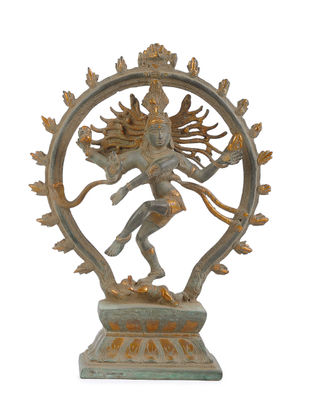 Brass Home Accent with Nataraja Design (L - 9.7in, W - 3.1in, H - 12.7in)