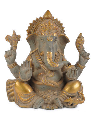 Brass Home Accent with Ganesha Design (L - 6.5in, W - 3.6in, H - 8.5in)