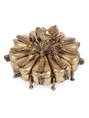 Brass Decorative Box with Peacock Design (L - 7.1in, W - 7.1in, H - 5.5in)