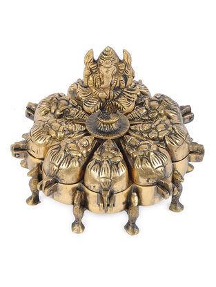 Brass Decorative Box with Ganesha Design (L - 6.1in, W - 6.1in, H - 5.5in)