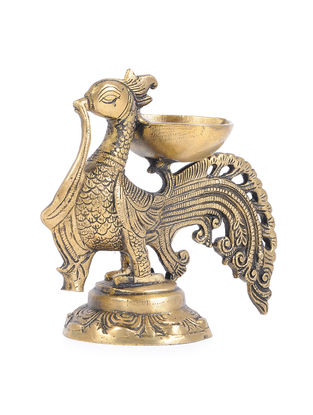 Brass Lamp with Peacock Design (L - 7.6in, W - 3.5in, H - 6.5in)