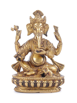Brass Ganesha (L - 2.5in, W - 2.6in, H - 6.1in)