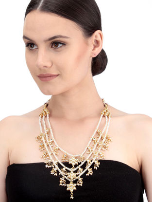 White Gold Tone Kundan Inspired Necklace