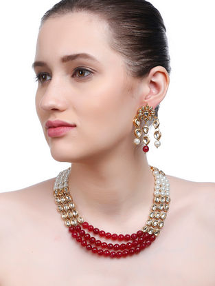 Red-White Gold Tone Kundan Inspired Necklace with Earrings (Set of 2)
