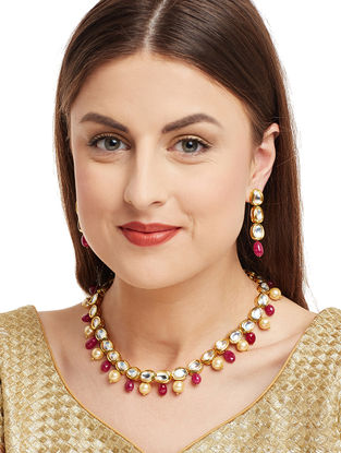 Red Gold Tone Kundan Inspired Necklace with Earrings (Set of 2)
