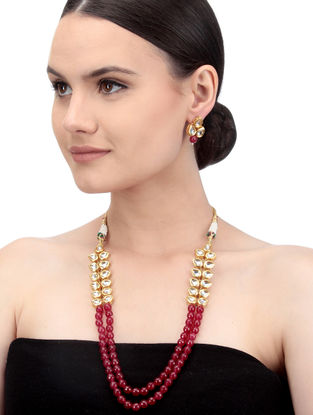 Red Gold Tone Kundan Inspired Beaded Necklace with Earrings (Set of 2)