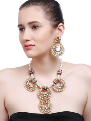Multicolored Gold Tone Kundan Inspired Necklace with Earrings (Set of 2)