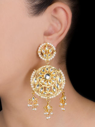 Floral Jhalar Kundan Earrings