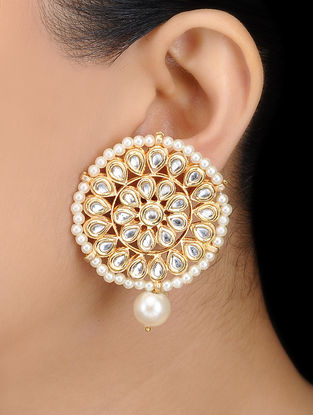 Kundan-inspired Gold Tone Earrings with Floral Design