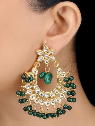 Green Kundan-inspired Gold Tone Earrings with Floral Motif