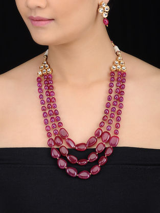 Pink Beaded Kundan-inspired Gold Tone Necklace with a Pair of Earrings (Set of 2)